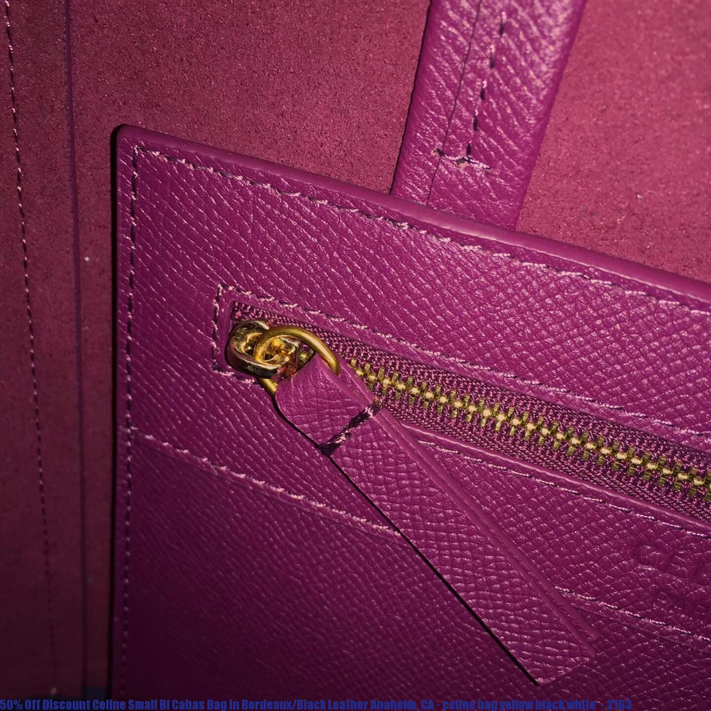 ce2a8cf8ede1 50% Off Discount Celine Small Bi Cabas Bag In Bordeaux Black Leather ...