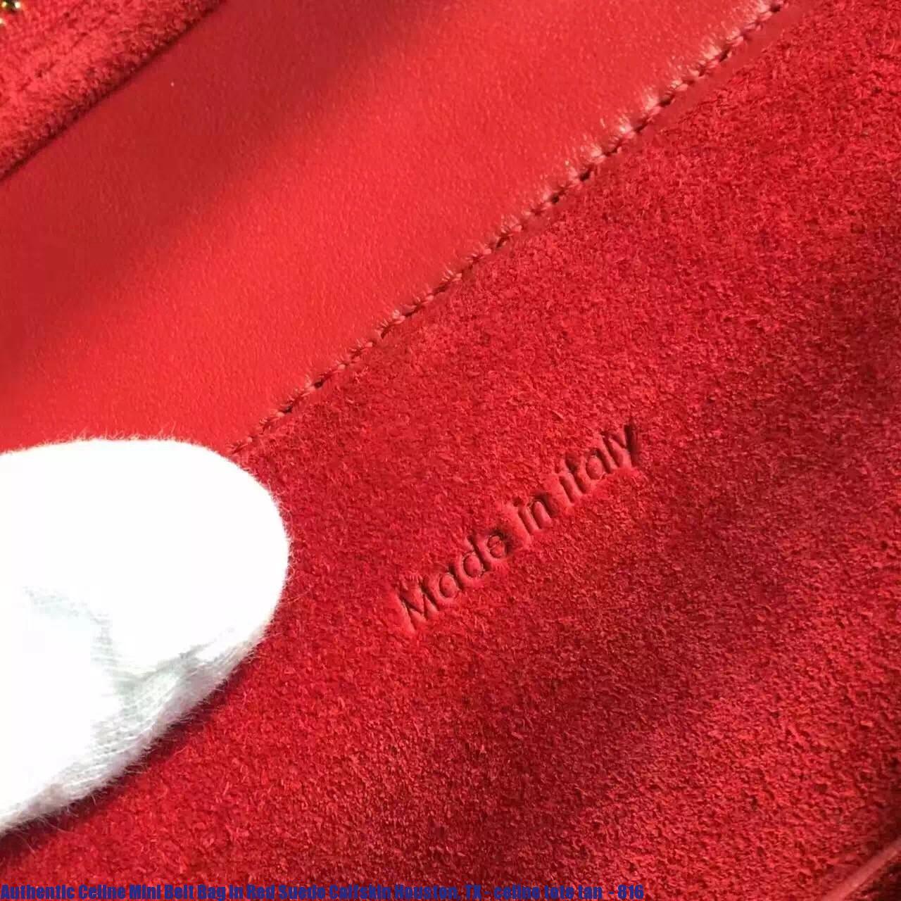 3b9b8ea580 Authentic Celine Mini Belt Bag In Red Suede Calfskin Houston