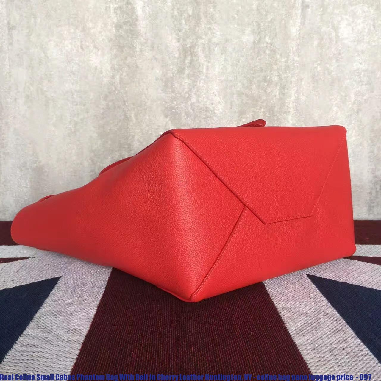 Real Celine Small Cabas Phantom Bag With Belt In Cherry Leather ... d0769f20a1