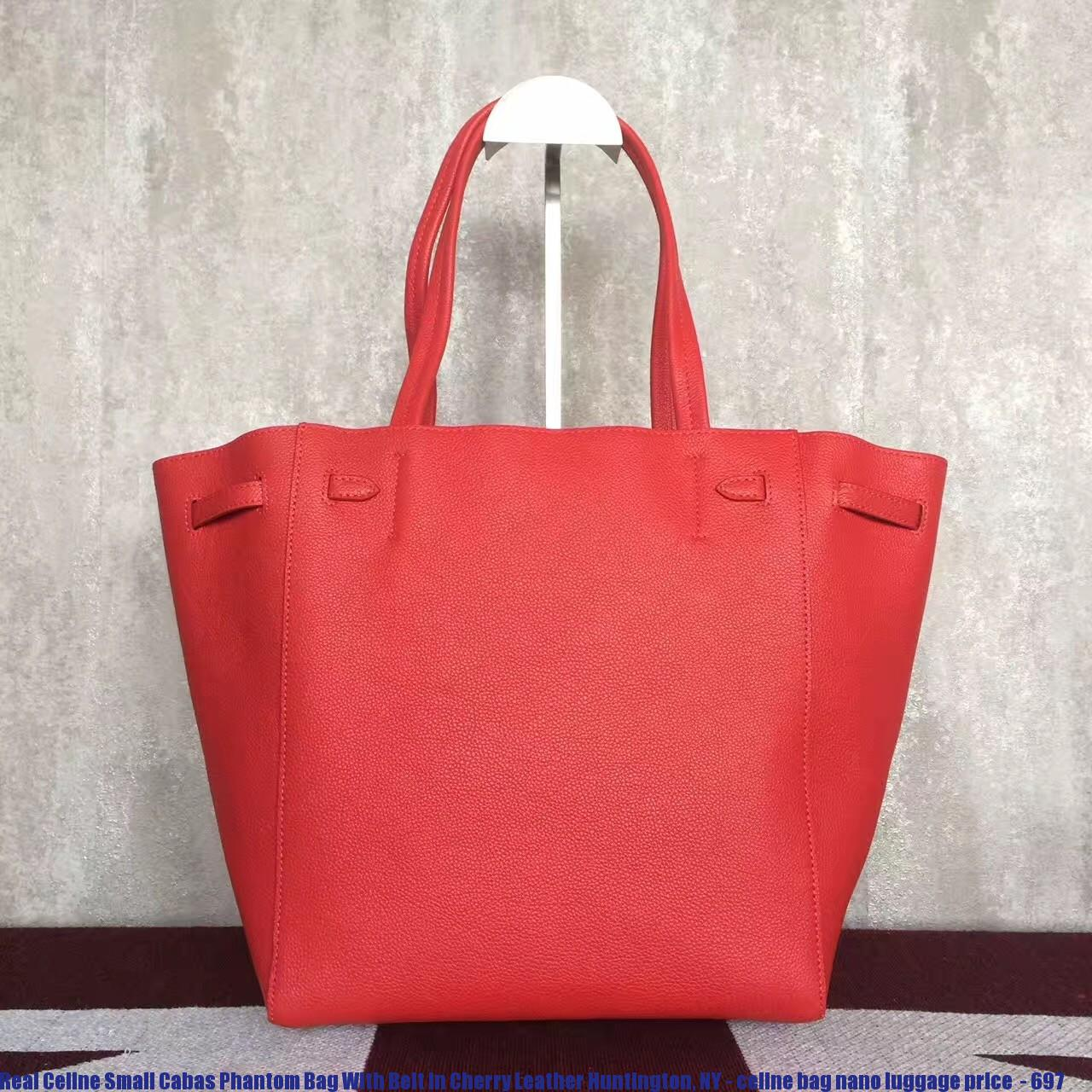 4a4ea1dcdef9 Real Celine Small Cabas Phantom Bag With Belt In Cherry Leather